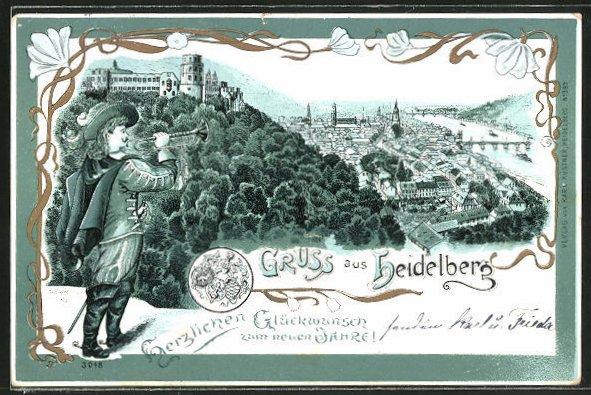 AK Heidelberg, Totalansicht, Trompter vor der Stadt 0