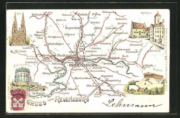 Lithographie Regensburg, Landkarte der Umgebung 0