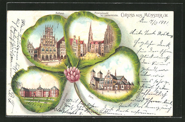 Passepartout-Lithographie Münster i.W., Dom, Rathaus, Königl. Schloss 0