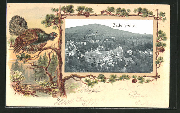Passepartout-Lithographie Badenweiler, Gesamtansicht 0