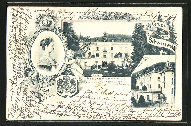 AK Badenweiler, Schloss Hausbaden, Wilhelmine Königin der Niederlande 0