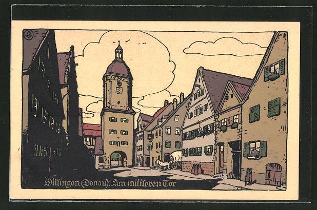 Steindruck-AK Dillingen /Donau, Am mittleren Tor 0