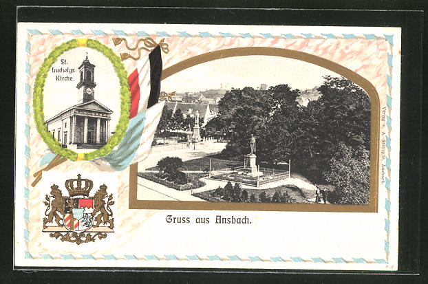Passepartout-Lithographie Ansbach, Ortsansicht, St. Ludwigs-Kirche, Wappen 0