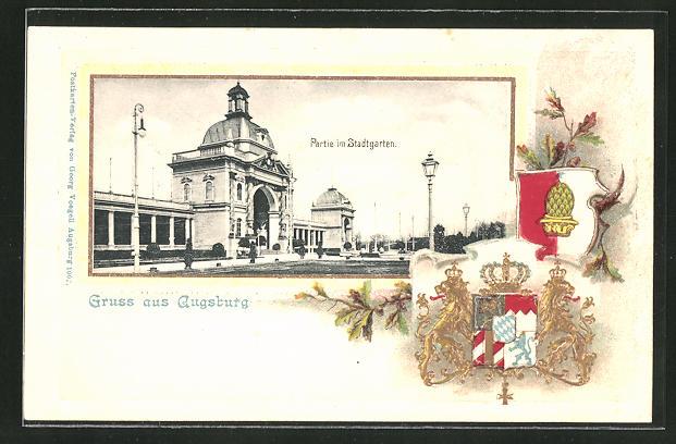 Passepartout-Lithographie Augsburg, Partie am Stadtgarten, Wappen 0