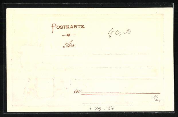 Passepartout-Lithographie Augsburg, Partie am Stadtgarten, Wappen 1