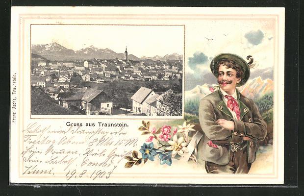 Passepartout-Lithographie Traunstein, Totalansicht 0
