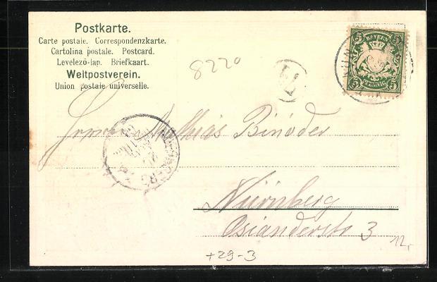 Passepartout-Lithographie Traunstein, Totalansicht 1