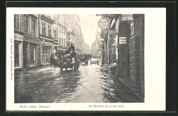 AK Kiel, Strassenpartie während der Sturmflut 1904 0
