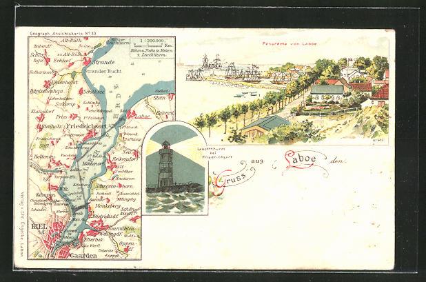 Lithographie Laboe, Panorama und Landkarte der Umgebung 0
