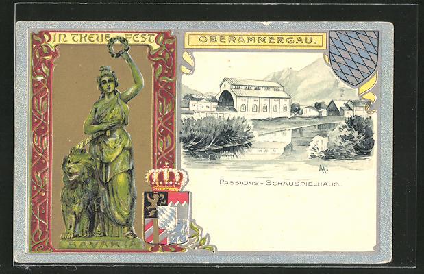 Passepartout-Lithographie Oberammergau, Passionsspielhaus und Wappen