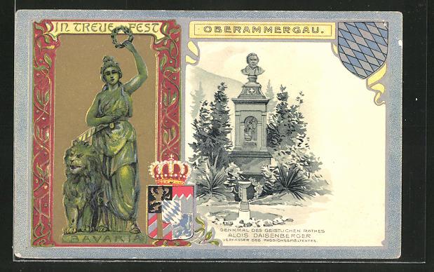 Passepartout-Lithographie Oberammergau, Passionsspielhaus und Wappen 0
