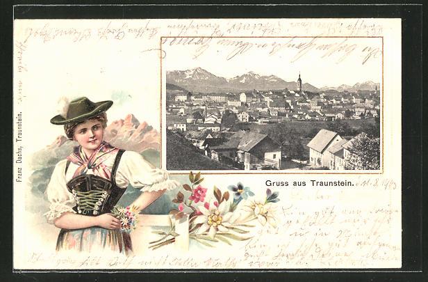 Passepartout-Lithographie Traunstein, Gesamtansicht