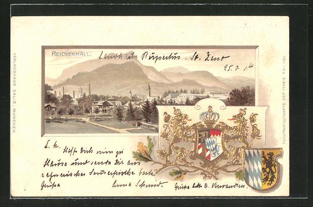 Passepartout-Lithographie Bad Reichenhall, Panorama und Wappen 0