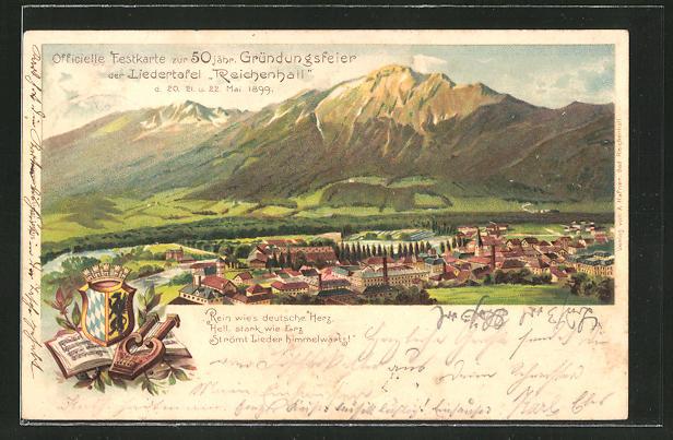 Lithographie Bad Reichenhall, Grundungsfeier der Liedertafel 1899, Panorama 0