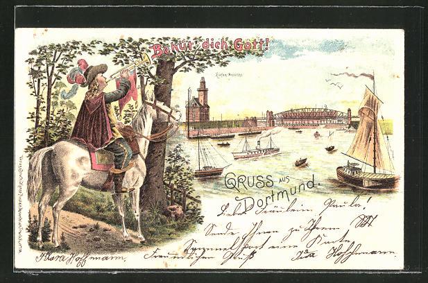 Lithographie Dortmund, Der Trompeter zu Pferd am Hafen 0