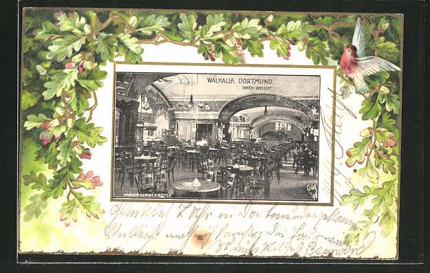 Passepartout-Lithographie Dortmund, Gasthaus Walhalla, Innenansicht 0
