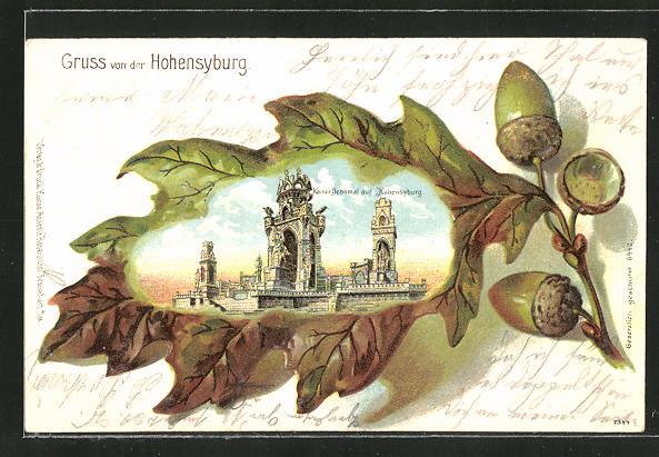 Passepartout-Lithographie Hohensyburg, Kaiserdenkmal auf Hohensyburg im Eichenblatt 0