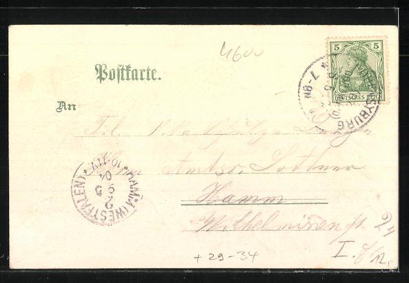 Passepartout-Lithographie Hohensyburg, Kaiserdenkmal auf Hohensyburg im Eichenblatt 1