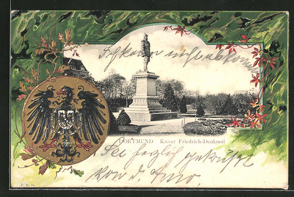 Passepartout-Lithographie Dortmund, Kaiser Friedrich-Denkmal und Wappen 0