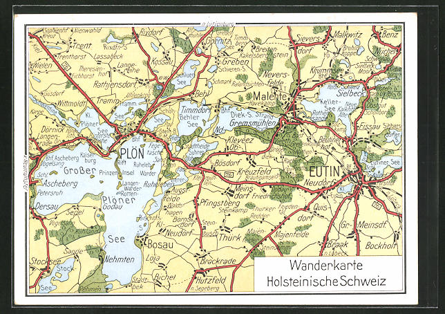 AK Plön, Landkarte Holsteinische Schweiz