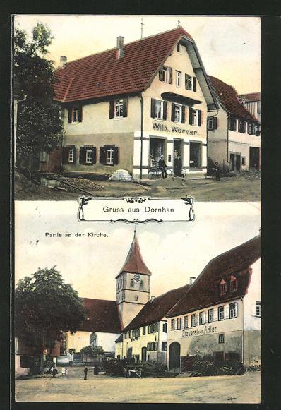 AK Dornhan, Gasthaus und Brauerei zum Adler und Kirchpartie