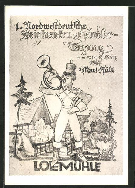 AK Marl, Loemühle, 1. Nordwestdeutsche Briefmarken-Händler-Tagung 1947, Postbote mit Horn 0