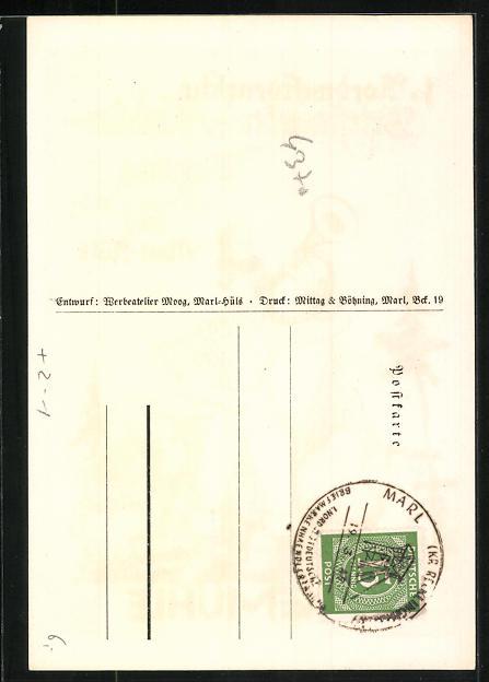AK Marl, Loemühle, 1. Nordwestdeutsche Briefmarken-Händler-Tagung 1947, Postbote mit Horn 1