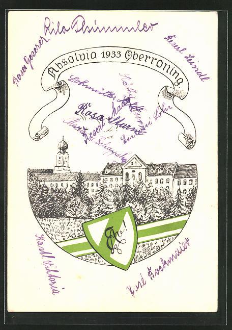 AK Oberroning, Absolvia 1933 mit Wappen und Panorama 0