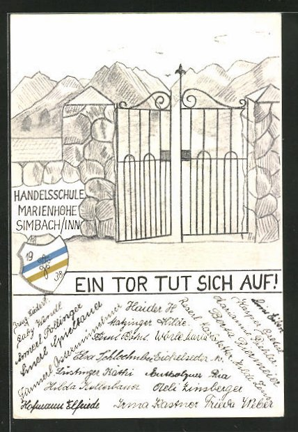 AK Simbach / Inn, Absolvia 1938, Handelsschule Marienhöhe mit Wappen
