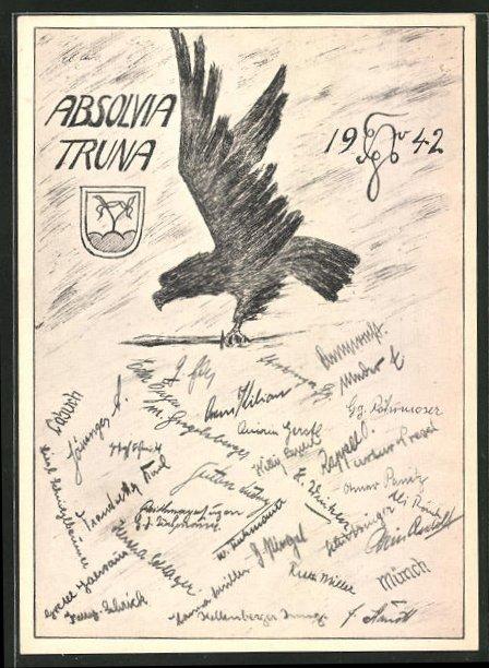 AK Traunstein, Absolvia Truna 1942, Adler und Wappen 0
