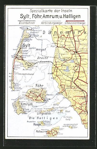 AK Wyk, Landkarte der Inseln Föhr, Sylt, Amrum und Halligen
