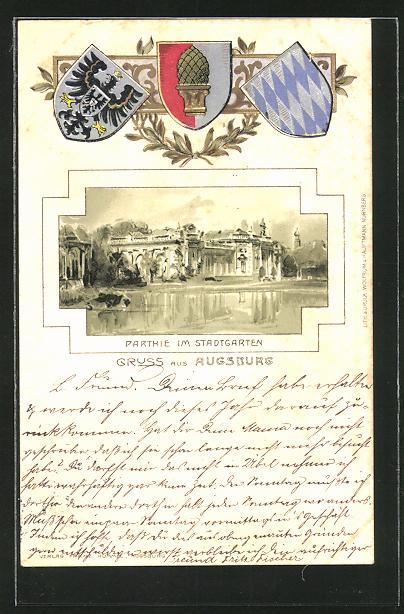 Passepartout-Lithographie Augsburg, Partie im Stadtgarten, Wappen
