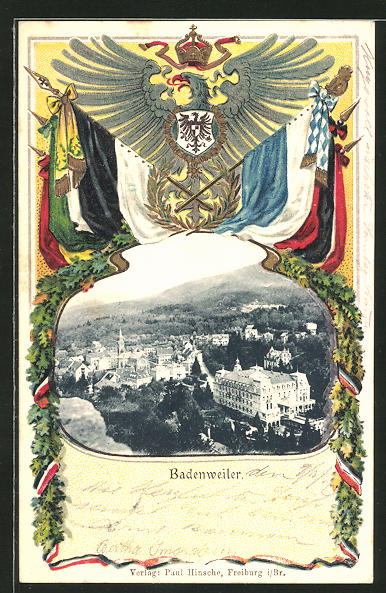 Passepartout-Lithographie Badenweiler, Ortsansicht aus der Vogelschau, Wappen