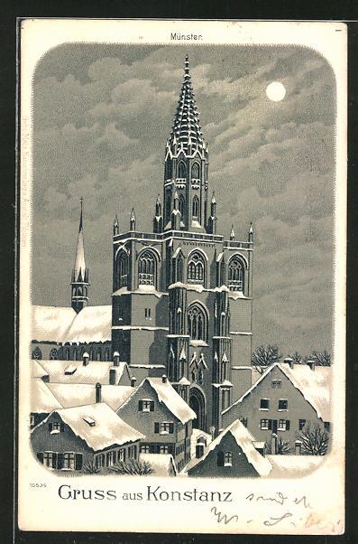 Mondschein-Winter-Lithographie Konstanz, Münster im Winter