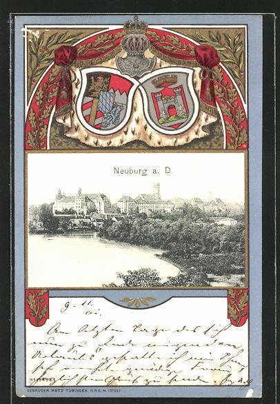 Passepartout-Lithographie Neuburg, Totalansicht, Wappen