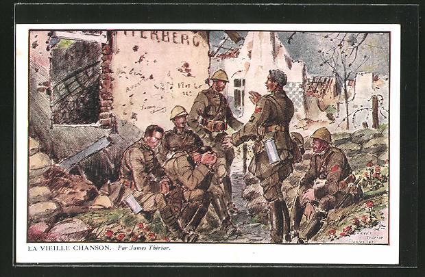Künstler-AK sign. James Thiriar: Belgische Soldaten nach der Schlacht