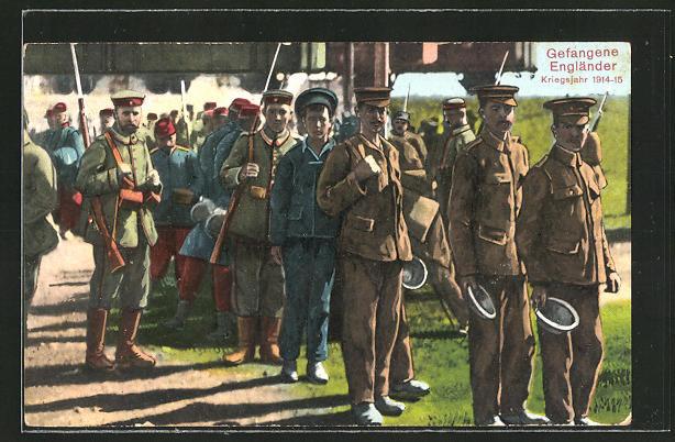 AK Kriegsgefangene Engländer bei der Essensausgabe