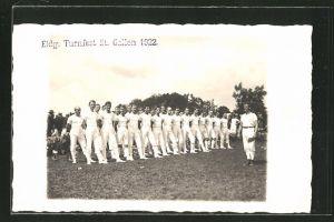 Foto-AK St. Gallen, Eidg. Turnfest 1922, Turnerriege