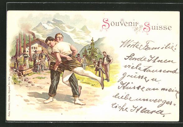 Künstler-AK Junge Schweizer beim Ringen