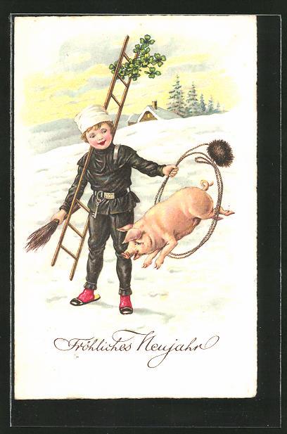AK Neujahrsgruss, Schornsteinfeger und springendes Schwein