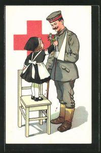 AK kleines Mädchen als Schwester des Rotes Kreuzes schenkt verwundetem Soldaten Blumen