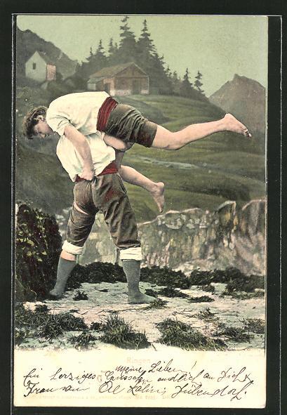 AK Zwei Männer beim Ringen in einer Berglandschaft