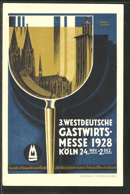 Künstler-AK Köln, 3. Westdeutsche Gastwirts-Messe 1928