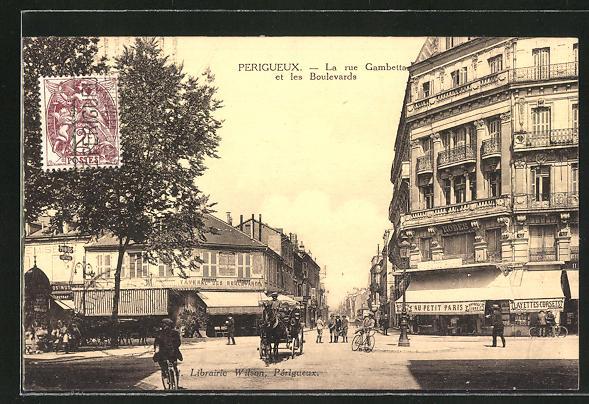 AK Perigueux, La rue Gambetta et les Boulevards