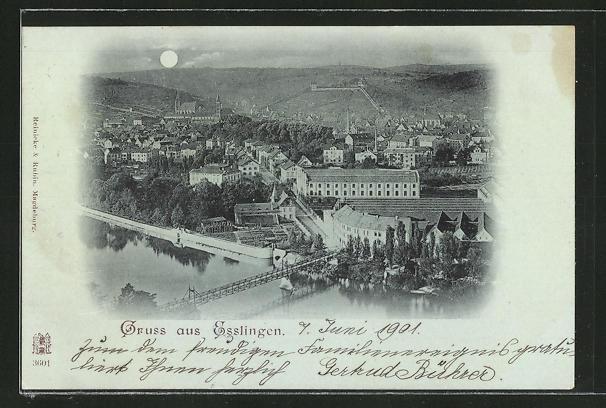 Mondschein-AK Esslingen, Ortspanorama mit Flussbrücke