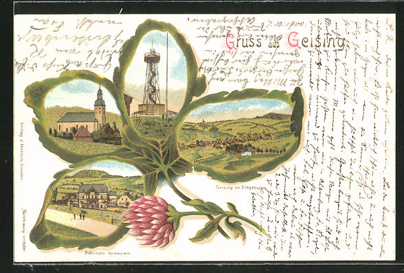 Passepartout-Lithographie Geising, Bahnhofs-Restaurant, Aussichtsthurm Wettin-Höhe, Kirche & Ortsansicht im Kleeblatt