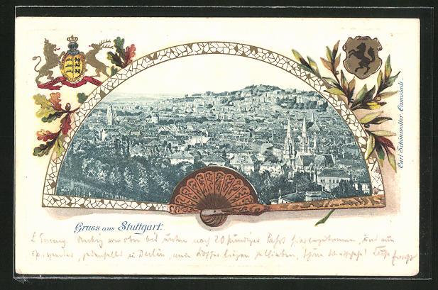 Präge-Passepartout-Lithographie Stuttgart, Ortsansicht im Fächer mit Wappen