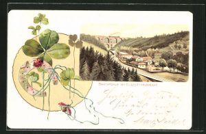 Passepartout-Lithographie Jocketa, Barthmühle mit Elsterthalbrücke, Marienkäfer mit Hufeisen und Kleeblättern