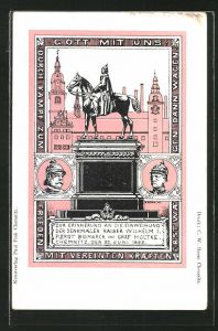 AK Chemnitz, Erinnerung an die Einweihung der Denkmäler Kaiser Wilhelm I., Fürst Bismarck & Graf Moltke 1899