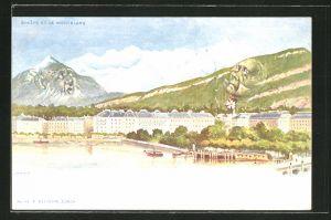 Lithographie Killinger Nr. 94: Geneve, Ortsansicht mit Montblanc, Berg mit Gesicht / Berggesichter